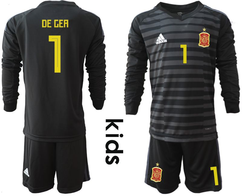 Youth 2018 World Cup spain black long sleeve goalkeeper 1 Soccer Jerseys1