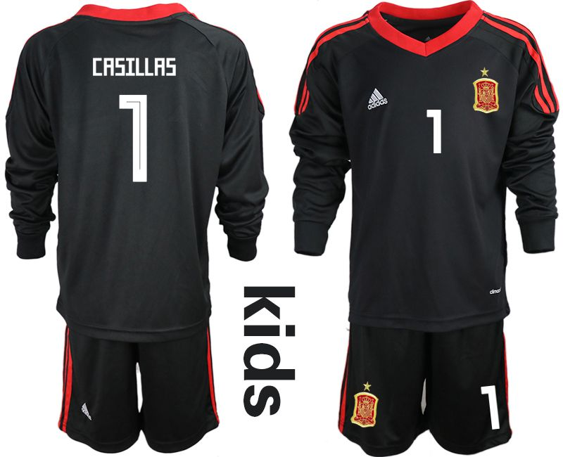 Youth 2018 World Cup spain black long sleeve goalkeeper 1 Soccer Jerseys2