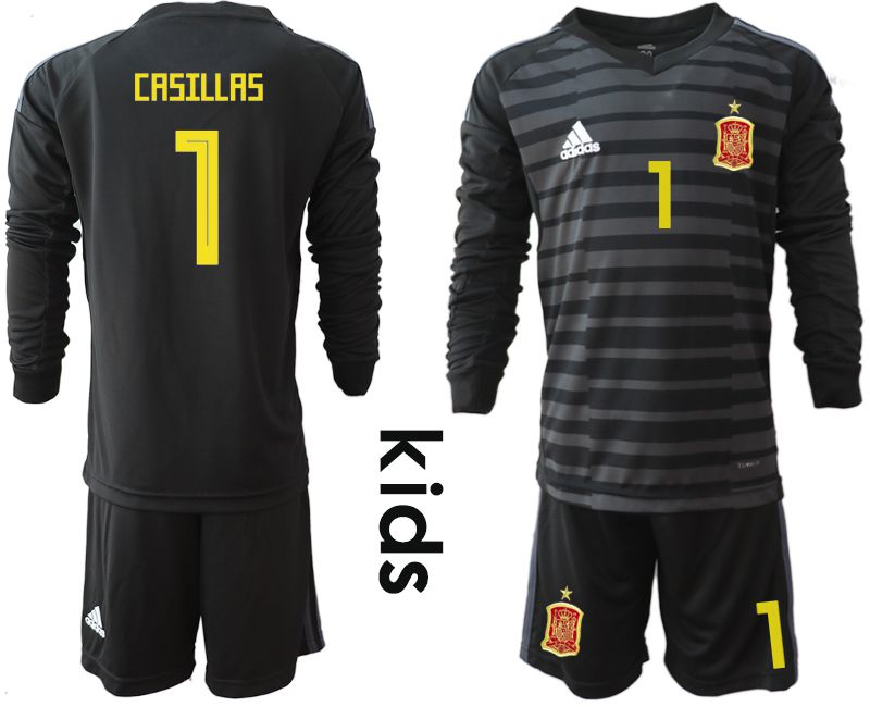 Youth 2018 World Cup spain black long sleeve goalkeeper 1 Soccer Jerseys3