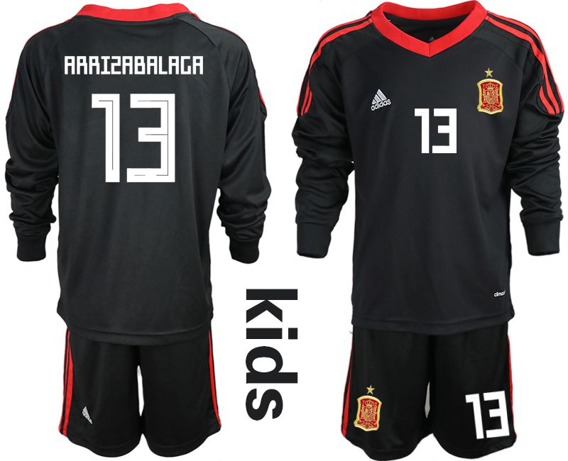 Youth 2018 World Cup spain black long sleeve goalkeeper 13 Soccer Jerseys