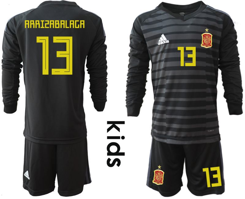 Youth 2018 World Cup spain black long sleeve goalkeeper 13 Soccer Jerseys1
