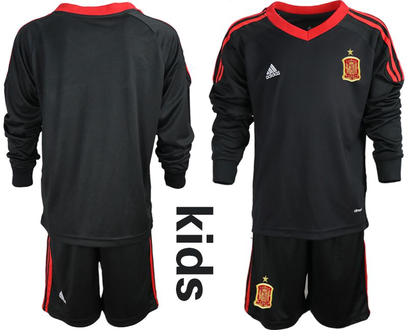 Youth 2018 World Cup spain black long sleeve goalkeeper Soccer Jerseys