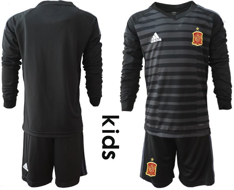 Youth 2018 World Cup spain black long sleeve goalkeeper Soccer Jerseys1