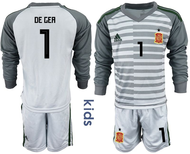 Youth 2018 World Cup spain gray long sleeve goalkeeper 1 Soccer Jerseys