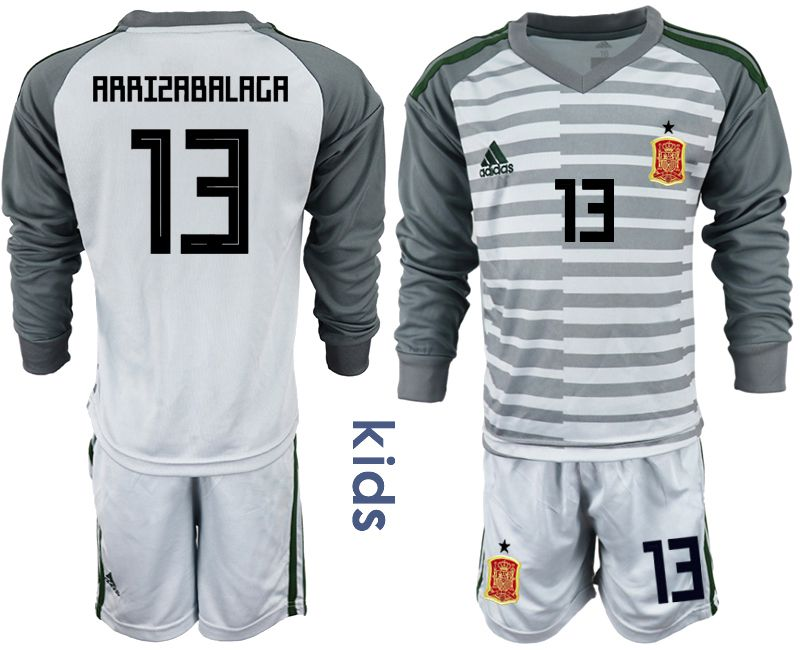 Youth 2018 World Cup spain gray long sleeve goalkeeper 13 Soccer Jerseys