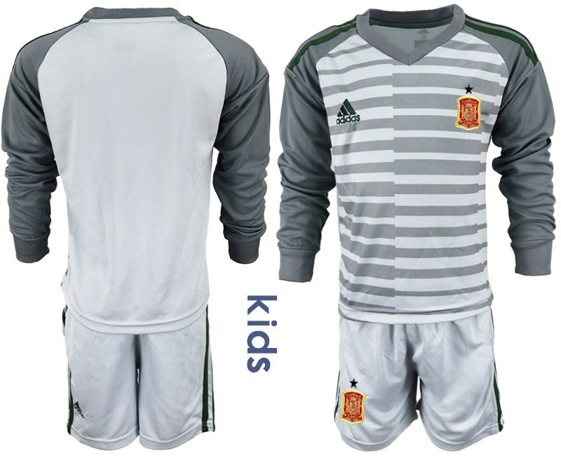 Youth 2018 World Cup spain gray long sleeve goalkeeper Soccer Jerseys