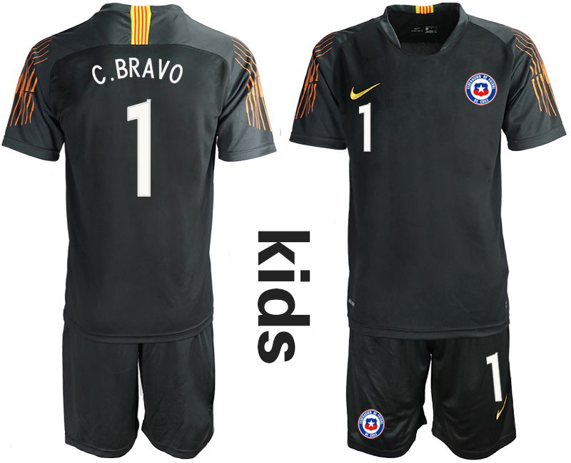 Youth 2018-2019 National Chile black goalkeeper 1 Soccer Jerseys