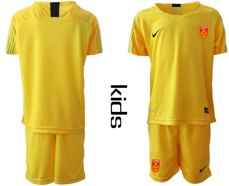 Youth 2018-2019 National China yellow goalkeeper Soccer Jerseys