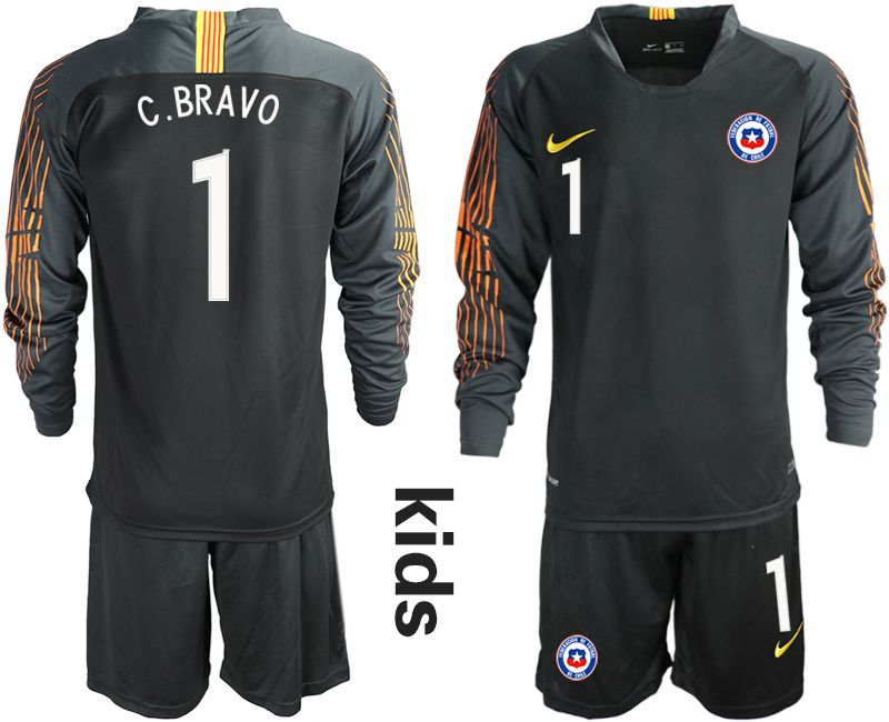 Youth 2018-2019 National Team Chile black long sleeve goalkeeper 1 Soccer Jerseys