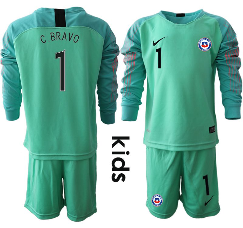 Youth 2018-2019 National Team Chile green goalkeeper long sleeve 1 Soccer Jerseys