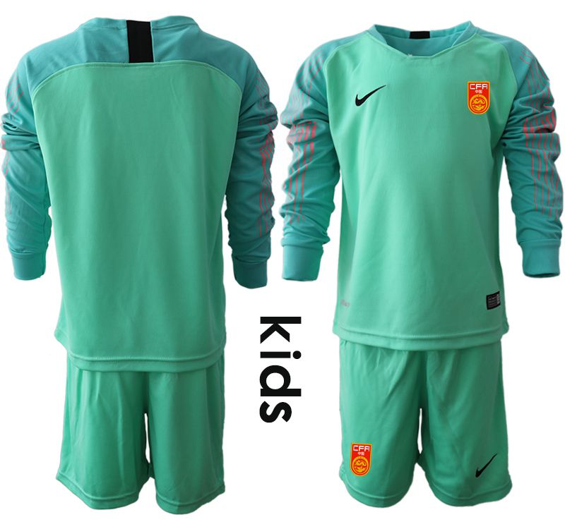 Youth 2018-2019 National Team China green goalkeeper long sleeve Soccer Jerseys