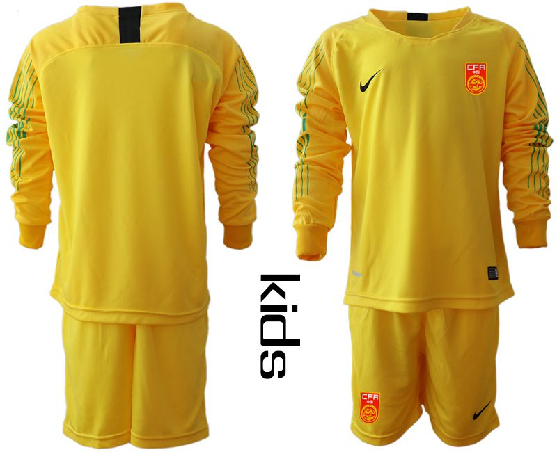 Youth 2018-2019 National Team China yellow goalkeeper long sleeve Soccer Jerseys
