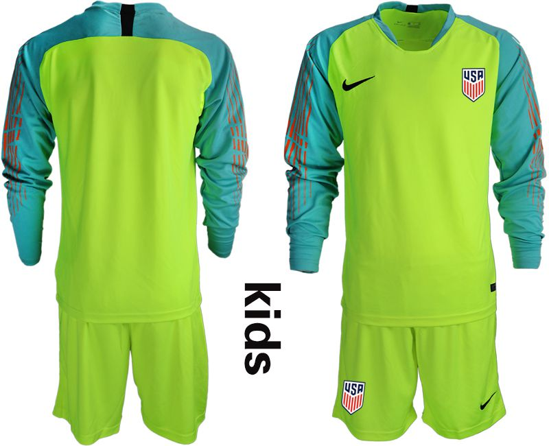 Youth 2018-2019 National Team USA fluorescent green long sleeve goalkeeper Soccer Jerseys