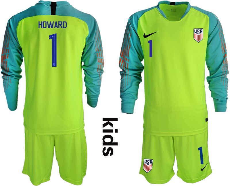 Youth 2018-2019 National Team USA fluorescent green long sleeve goalkeeper Soccer Jerseys1