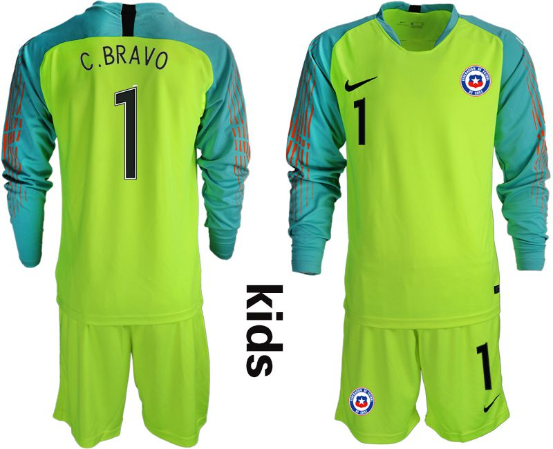 Youth 2018-2019 National Team chile fluorescent green long sleeve goalkeeper 1 Soccer Jerseys