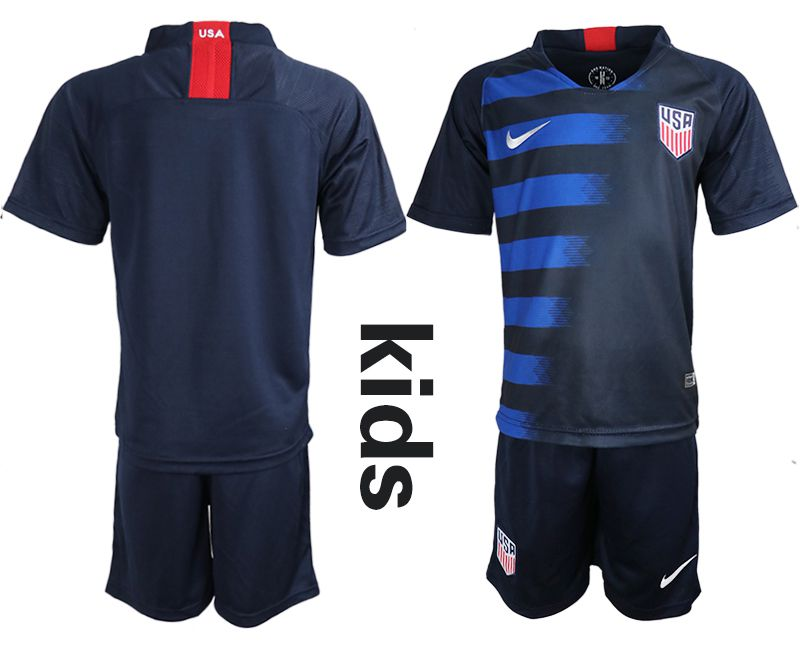 Youth 2018-2019 National United States away blue Soccer Jerseys