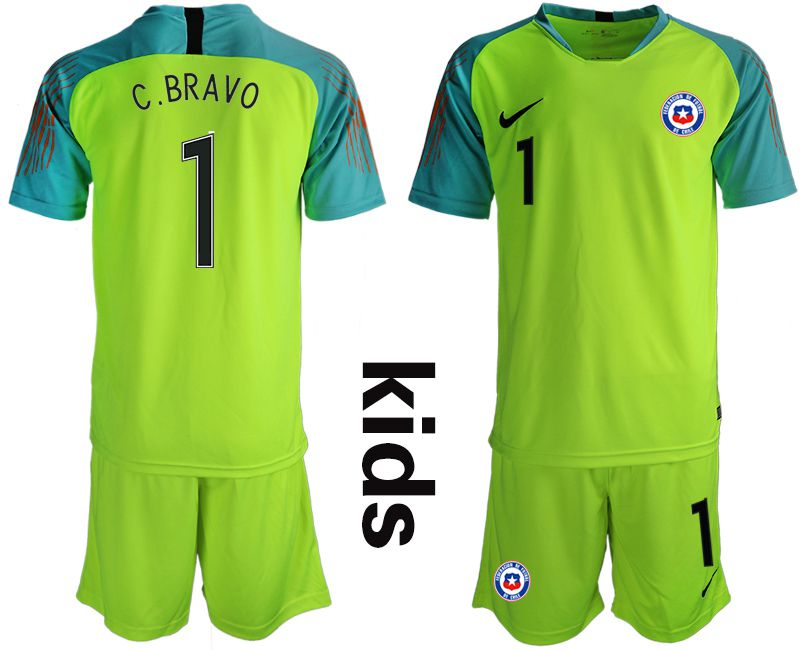 Youth 2018-2019 National chile fluorescent green goalkeeper 1 Soccer Jerseys