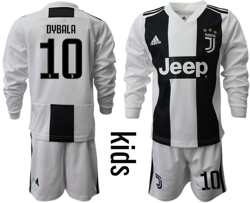 Youth 2018-2019 club Juventus home long sleeves 10 Soccer Jerseys
