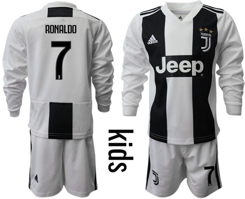 Youth 2018-2019 club Juventus home long sleeves 7 Soccer Jerseys