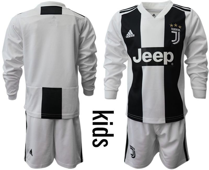 Youth 2018-2019 club Juventus home long sleeves Soccer Jerseys