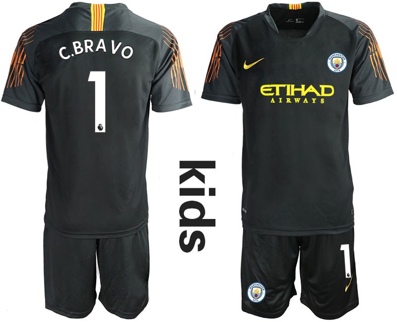 Youth 2018-2019 club Manchester City FC black goalkeeper 1 Soccer Jerseys