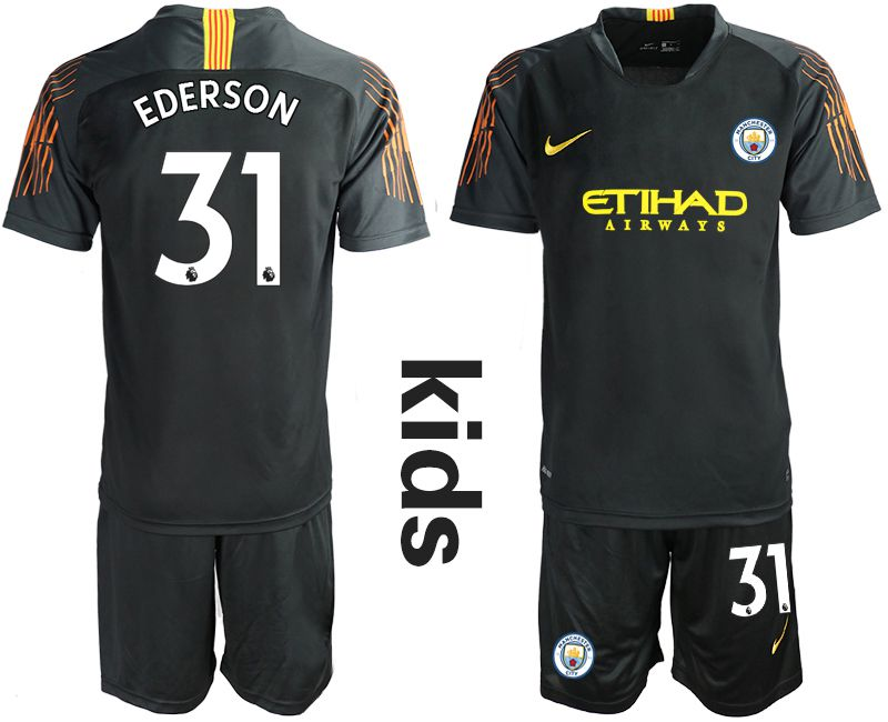 Youth 2018-2019 club Manchester City FC black goalkeeper 31 Soccer Jerseys