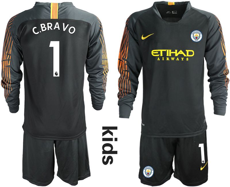 Youth 2018-2019 club Manchester City FC black long sleeve goalkeeper 1 Soccer Jerseys