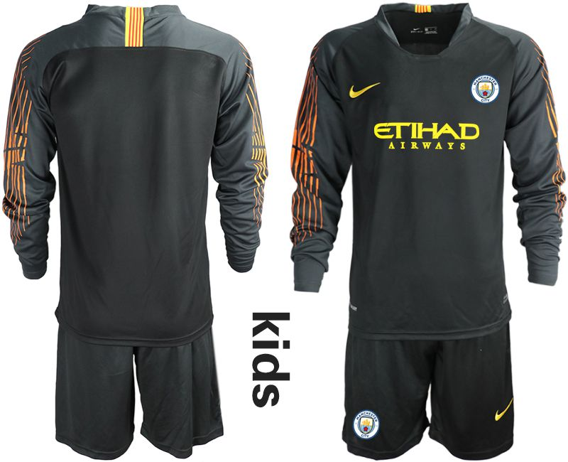 Youth 2018-2019 club Manchester City FC black long sleeve goalkeeper Soccer Jerseys