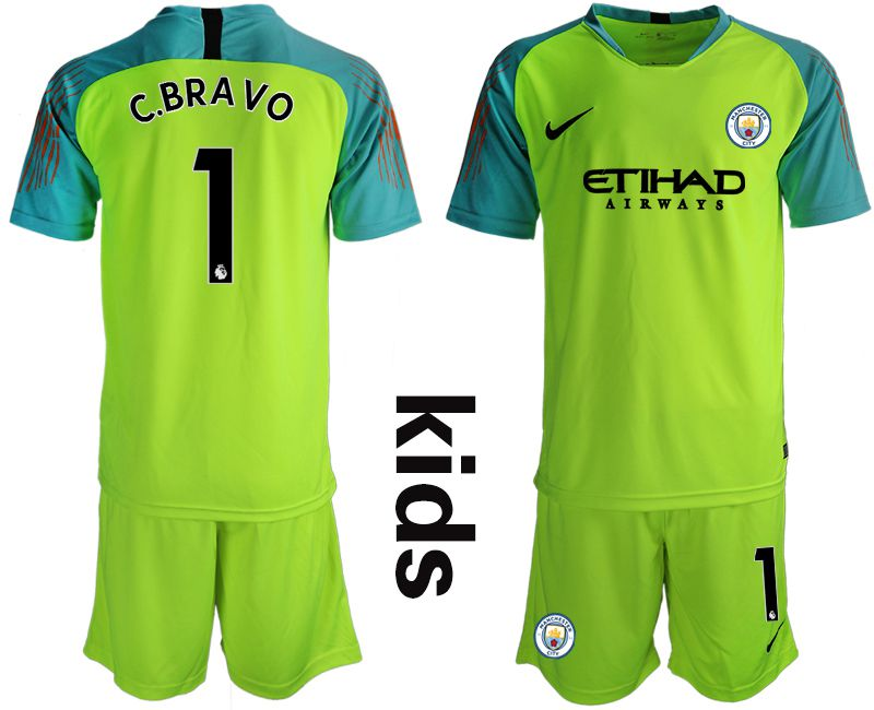 Youth 2018-2019 club Manchester City FC fluorescent green goalkeeper 1 Soccer Jerseys