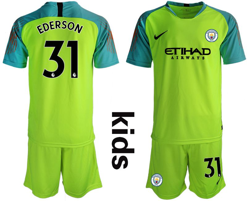 Youth 2018-2019 club Manchester City FC fluorescent green goalkeeper 31 Soccer Jerseys