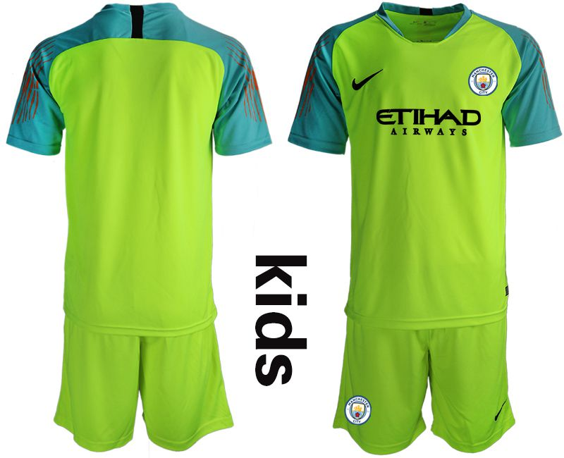Youth 2018-2019 club Manchester City FC fluorescent green goalkeeper Soccer Jerseys