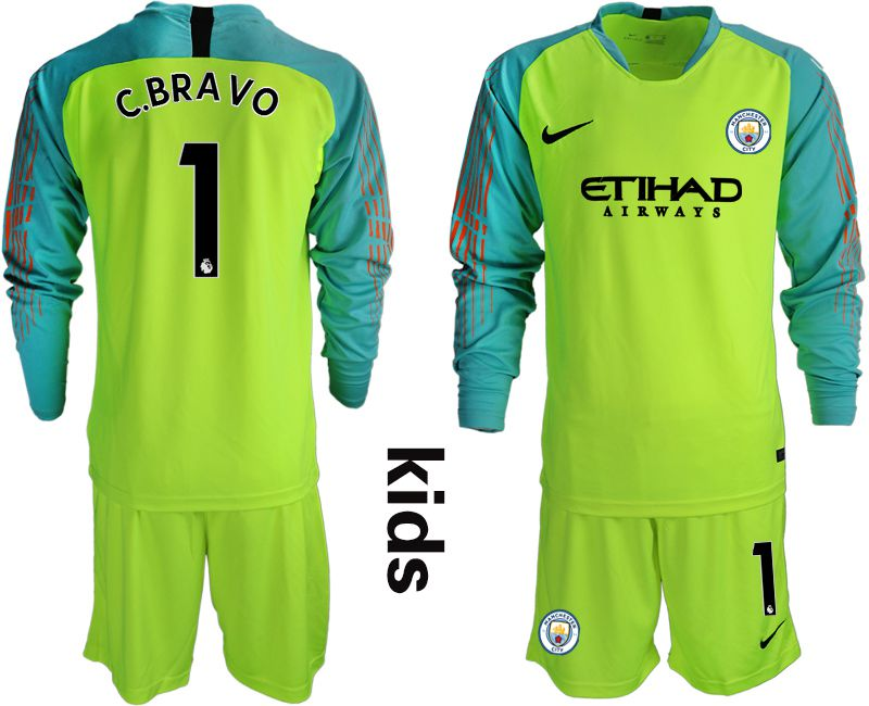 Youth 2018-2019 club Manchester City FC fluorescent green long sleeve goalkeeper 1 Soccer Jerseys