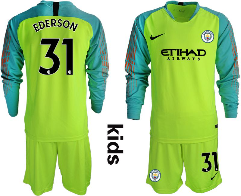 Youth 2018-2019 club Manchester City FC fluorescent green long sleeve goalkeeper 31 Soccer Jerseys