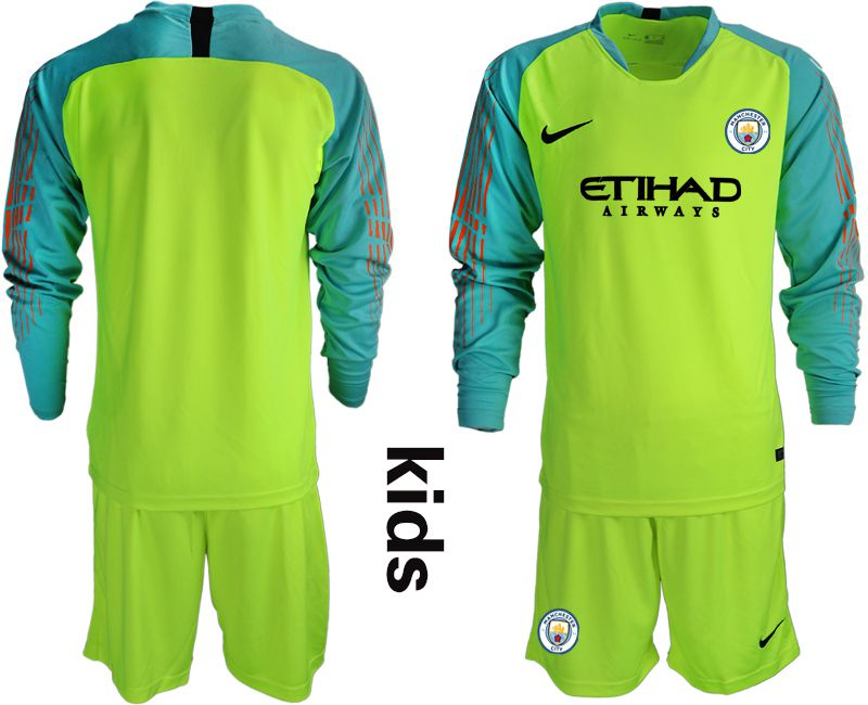 Youth 2018-2019 club Manchester City FC fluorescent green long sleeve goalkeeper Soccer Jerseys
