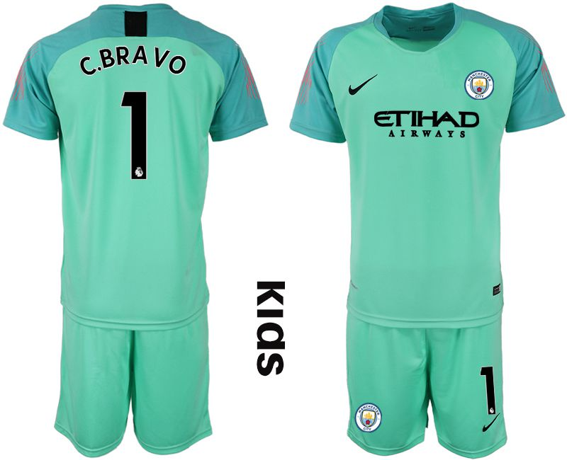 Youth 2018-2019 club Manchester City FC green goalkeeper 1 Soccer Jerseys