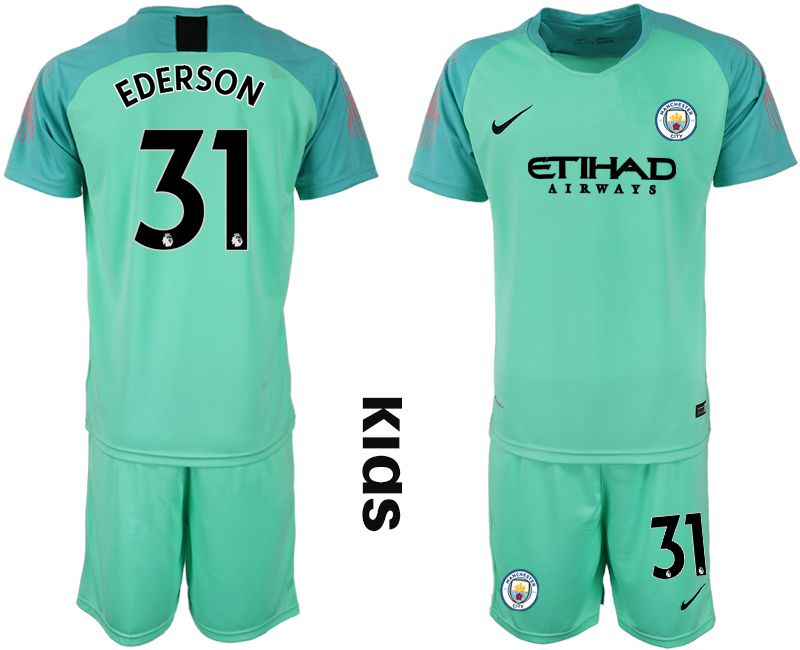Youth 2018-2019 club Manchester City FC green goalkeeper 31 Soccer Jerseys