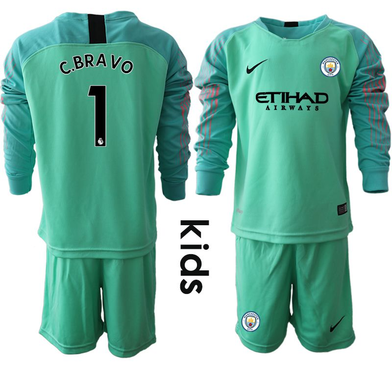 Youth 2018-2019 club Manchester City FC green goalkeeper long sleeve 1 Soccer Jerseys