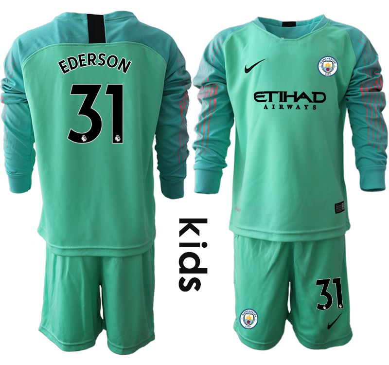Youth 2018-2019 club Manchester City FC green goalkeeper long sleeve 31 Soccer Jerseys