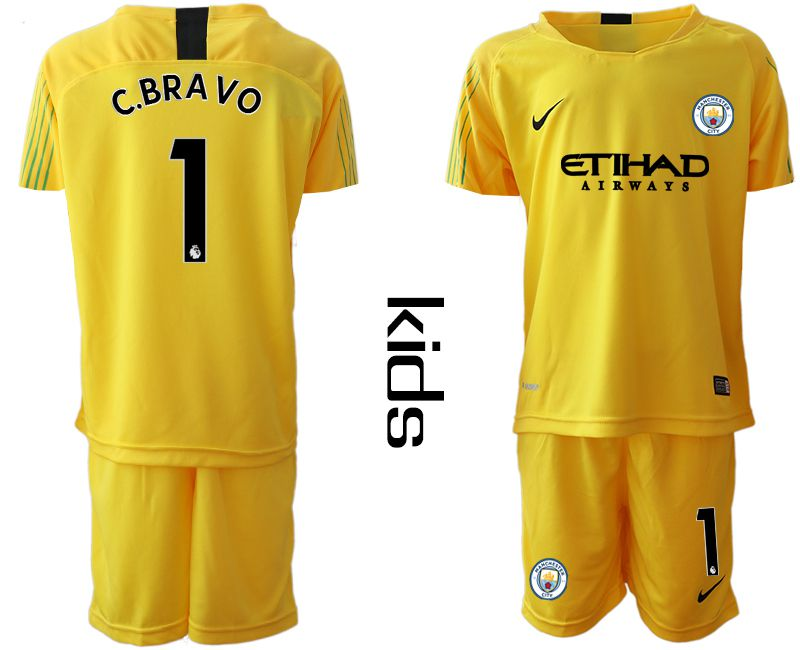 Youth 2018-2019 club Manchester City FC yellow goalkeeper 1 Soccer Jerseys
