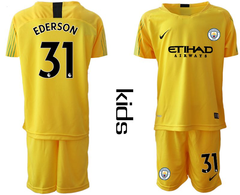Youth 2018-2019 club Manchester City FC yellow goalkeeper 31 Soccer Jerseys