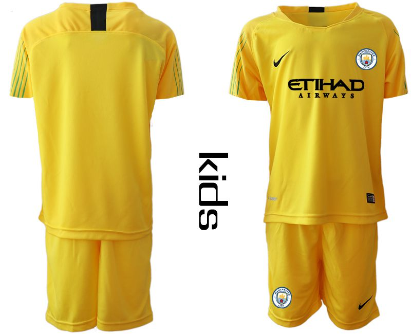 Youth 2018-2019 club Manchester City FC yellow goalkeeper Soccer Jerseys