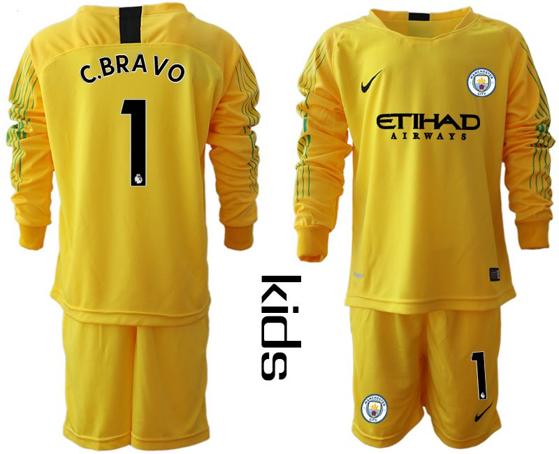 Youth 2018-2019 club Manchester City FC yellow goalkeeper long sleeve 1 Soccer Jerseys