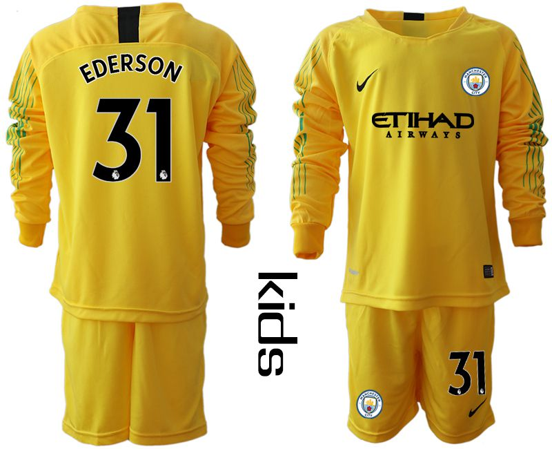 Youth 2018-2019 club Manchester City FC yellow goalkeeper long sleeve 31 Soccer Jerseys