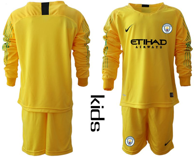 Youth 2018-2019 club Manchester City FC yellow goalkeeper long sleeve Soccer Jerseys