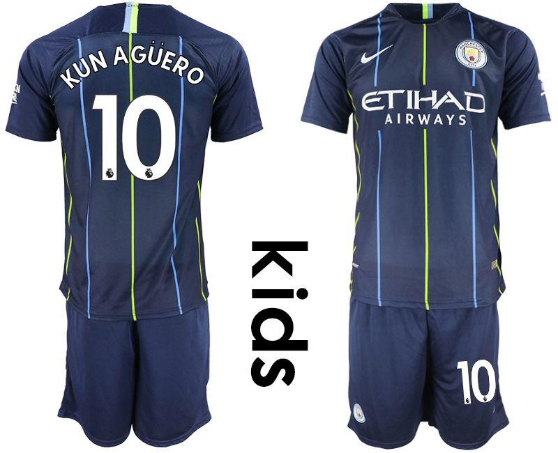 Youth 2018-2019 club Manchester City away 10 blue Soccer Jerseys