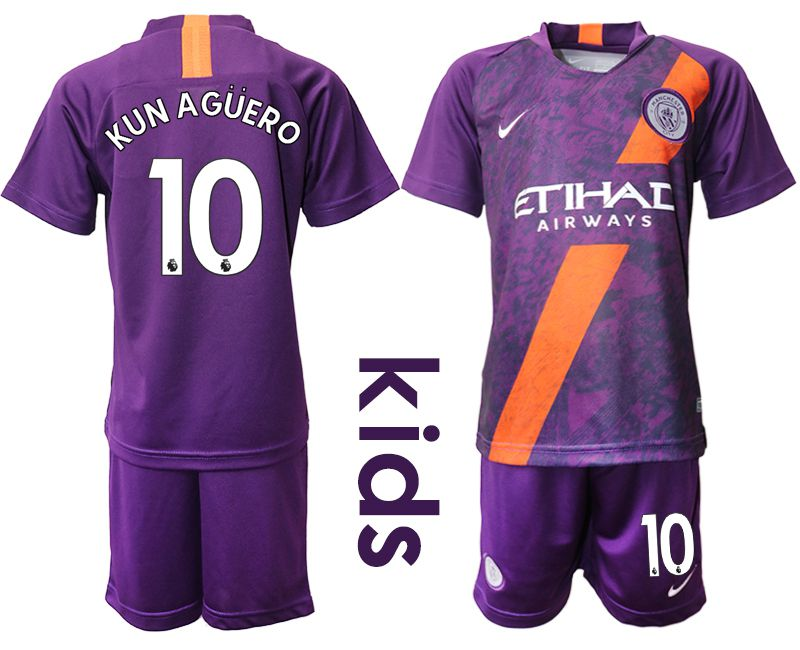 Youth 2018-2019 club Manchester City away 10 purple Soccer Jerseys