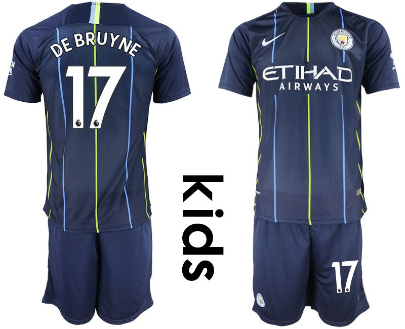 Youth 2018-2019 club Manchester City away 17 blue Soccer Jerseys