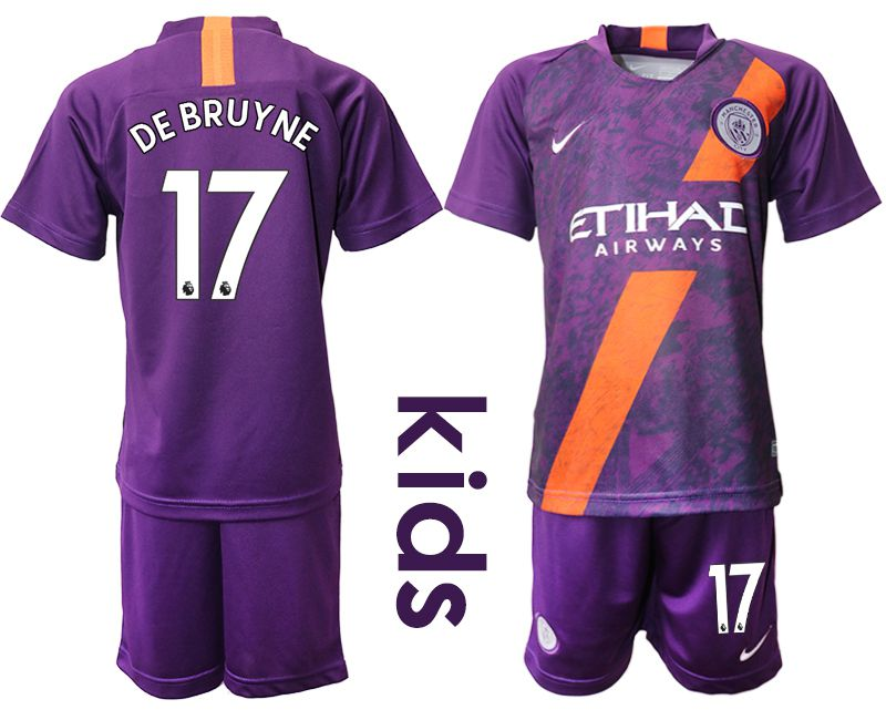 Youth 2018-2019 club Manchester City away 17 purple Soccer Jerseys