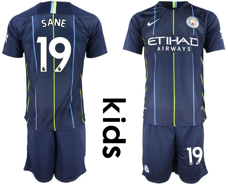 Youth 2018-2019 club Manchester City away 19 blue Soccer Jerseys