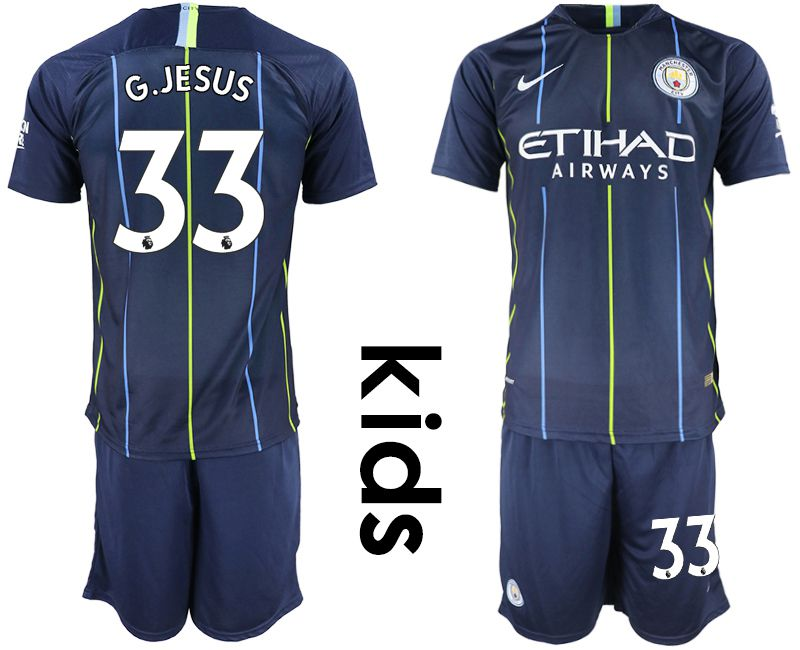 Youth 2018-2019 club Manchester City away 33 blue Soccer Jerseys
